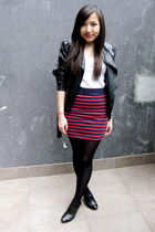 black Agent 99 jacket - white Topshop top - red asos skirt - black melbourne sho