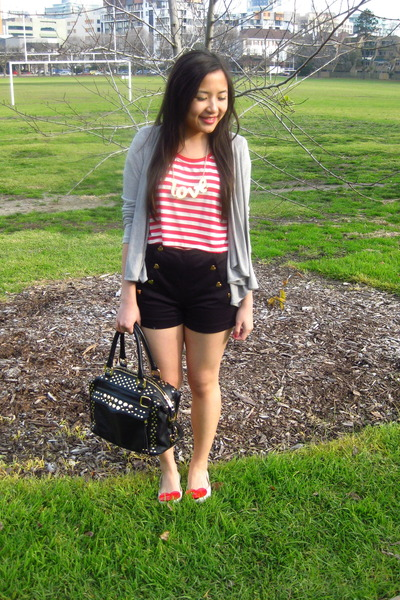 red bardot top - black Miss Selfridge shorts - gold Forever 21 necklace - black
