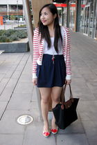 red Forever 21 cardigan - red heart shaped bangkok shoes - blue Forever 21 skirt