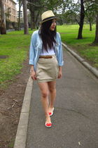 beige Valleygirl hat - blue asos shirt - white Forever 21 top - beige asos skirt