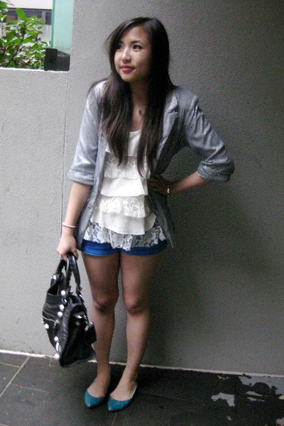 white lace Forever 21 top - blue Sportsgirl shoes - silver sequined supre blazer