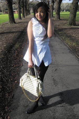 white Forever 21 top - black supre skirt - black Sportsgirl shoes - beige Kate H
