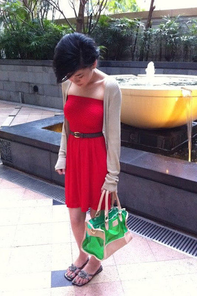 red Primark dress - chartreuse Primark bag - brick red Bally belt