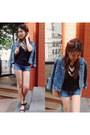 Denim-jacket-urban-outfitters-jacket-fringe-h-m-bag-denim-shorts-zara-shorts
