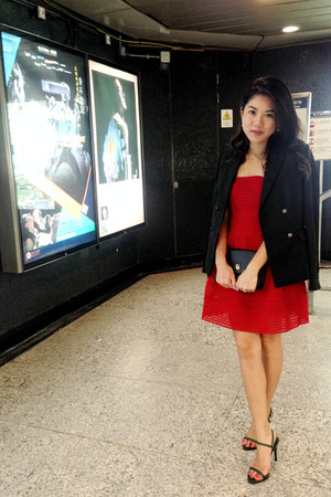 red tube dress Forever 21 dress - black Mango blazer