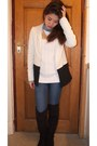 Black-forever-21-boots-blue-mango-jeans-white-h-m-blazer