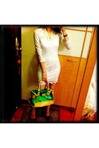 white asoscom dress - aquamarine Primark bag - black guy laroche heels