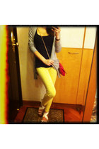 yellow Primark leggings - hot pink H&M bag - black Primark top