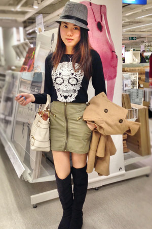 heather gray H&M hat - camel Zara jacket - olive green H&M skirt - black H&M top