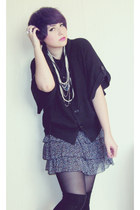 black thats it sweater - periwinkle thats it skirt - ivory vintage necklace