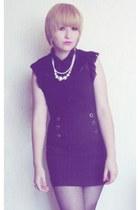 black chiffon blouse - black cotton skirt - eggshell pearls necklace