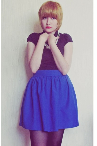 blue made by myself skirt - black cotton blouse - ivory necklace