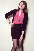 black cotton cardigan - black skirt - hot pink shiffon blouse - gold casio watch
