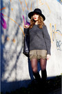 Black-givenchy-boots-black-stefanel-hat-gray-knitted-maje-sweater