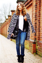 zebra PERSUNMALL coat - black Givenchy boots - sky blue 7 for all mankind jeans