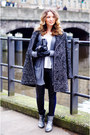 Silver-gk-mayer-boots-heather-gray-burberry-coat-sandro-leggings
