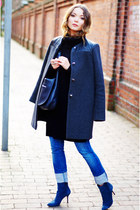 black Esprit sweater - blue suede Pollini boots - heather gray SANDRO coat