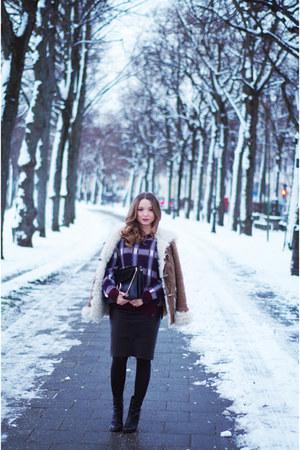 plaid Closed sweater - black baldinini boots - black Chloe purse