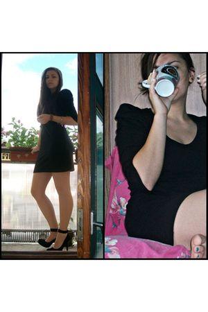 black Bershka dress