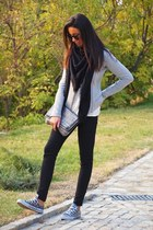silver shoes - black jeans - silver jacket - black scarf - silver bag