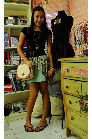 green skirt - beige esprit sling bag accessories - black PWT top