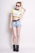 denim shorts Yayer Vintage shorts - crop top Yayer Vintage t-shirt