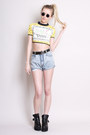 Denim-shorts-yayer-vintage-shorts-crop-top-yayer-vintage-t-shirt