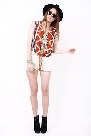 white denim Yayer Vintage shorts - tribal cotton Yayer Vintage top