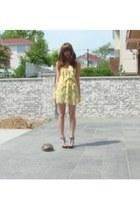 light yellow dress - white sweater - black heels