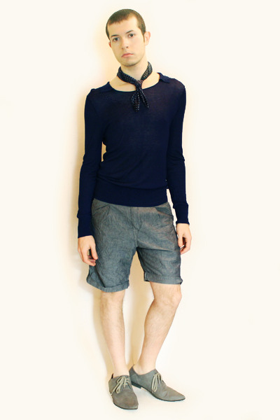 blue scarf - blue Zara sweater - blue Zara shorts - gray H&M shoes