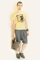 yellow Zara shirt - gray Deepstyle shorts - gray H&M shoes - Bag from Etsy - Top