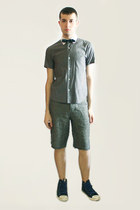 silver Hanjiro shirt - heather gray from london shorts - navy vivienne westwood