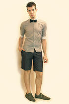 white Hanjiro shirt - blue Sisley shorts - gray H&M shoes - blue Sisley tie