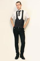 Zara shirt - From Harajuku Tokyo vest - vintage from etsy tie - Zara pants - bel