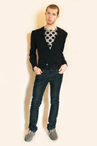 blue H&M blazer - gray Comme des Garcons for H&M t-shirt - blue Zara jeans - gra
