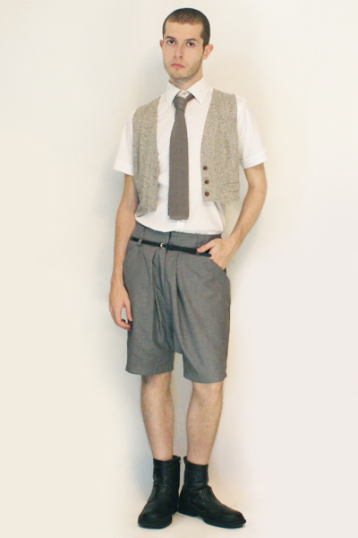 Misaky shirt - tie - vintage from Paris vest - Deep Style shorts - belt - boots