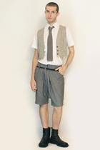Misaky shirt - tie - vintage from Paris vest - Deep Style shorts - belt - boots