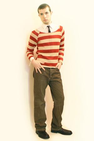 Misaky shirt - vintage tie - Npfeel sweater - pants - boots