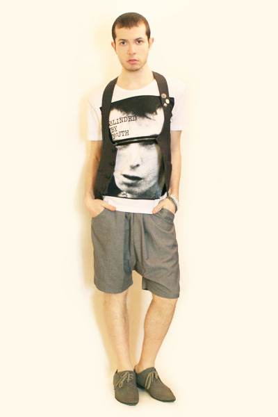 white Zara t-shirt - gray Harajuku vest - gray Deepstyle shorts - gray H&M shoes
