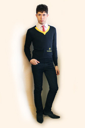 navy H&M shoes - navy Zara jeans - navy vivienne westwood sweater - white Misaky