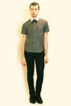 gray Hanjiro shirt - gray Etsy tie - black Zara pants - black shoes