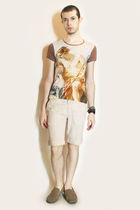 beige vivienne westwood t-shirt - beige H&M shorts - brown H&M shoes - green H&M