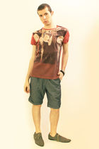 red vivienne westwood t-shirt - blue Zara shorts - gray H&M shoes - brown H&MTop