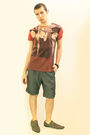 Red-vivienne-westwood-t-shirt-blue-zara-shorts-gray-h-m-shoes-brown-h-mtop