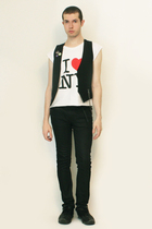 I love NY t-shirt - Sisley vest - Zara pants - shoes - Toki DokiCode Geass Pins