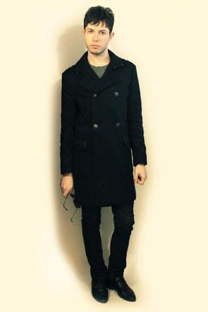 black Zara shoes - black H&M coat - charcoal gray H&M sweater - black H&M sungla