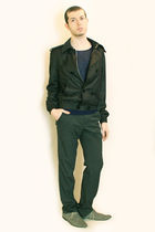 blue Zara t-shirt - gray Zara jacket - gray Zara pants - gray H&M shoes