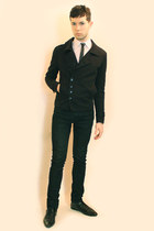 black Zara shoes - black Npfeel jacket - white Misaky shirt - black Zara pants -