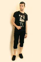black H&M t-shirt - black Frette Vintage vest - black H&M shoes - black Deepstyl
