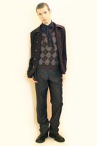 blue H&M shirt - gray Hanjiro vest - gray Zara pants - blue From Ueno Tokyo jack